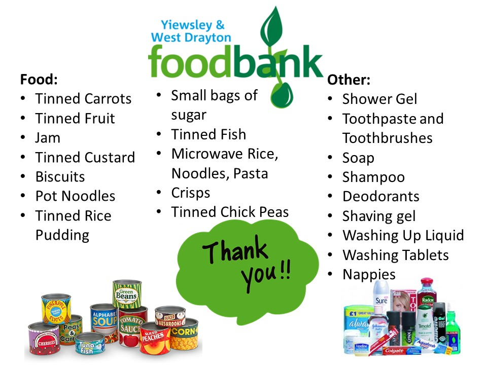 Shopping list of the items required by Yiewsley and West Drayton Foodbank. The up to date list can be reached at their website - https://yiewsleywestdrayton.foodbank.org.uk/give-help/donate-food/