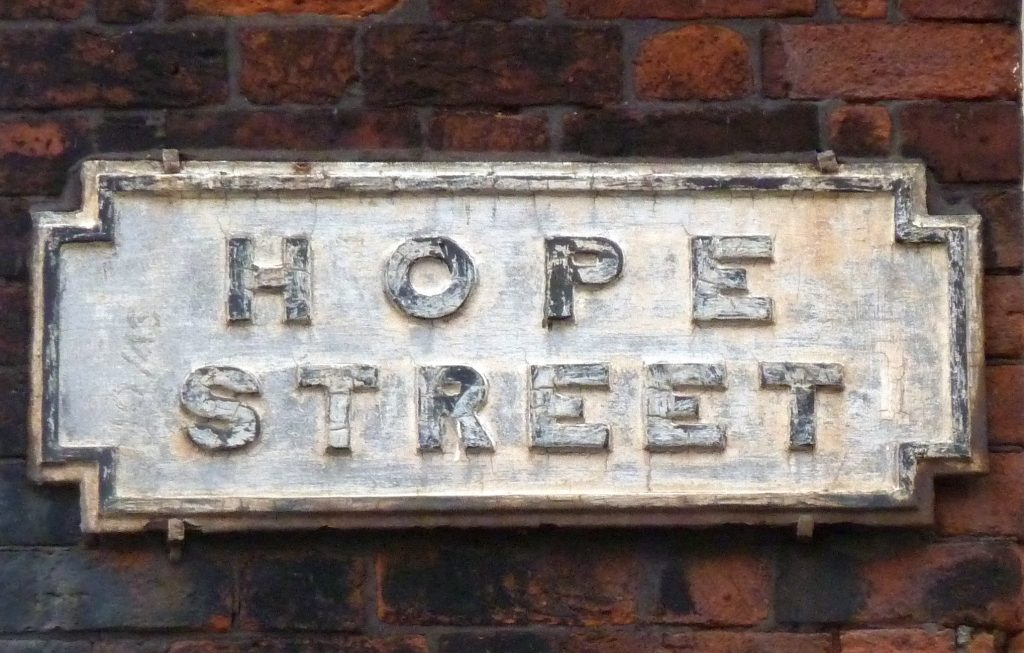 "Street Sign saying: ""Hope Street"""